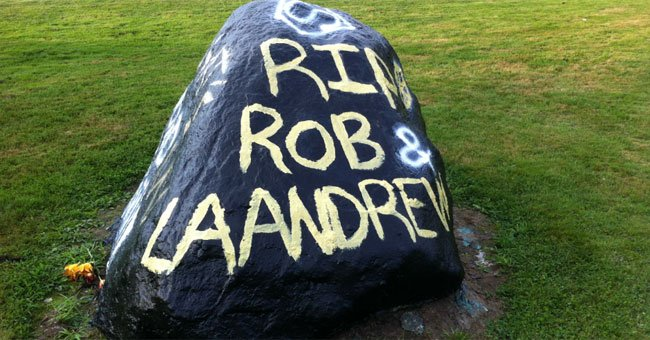 A rock was painted in honor of the people involved in the East Hartford crash.