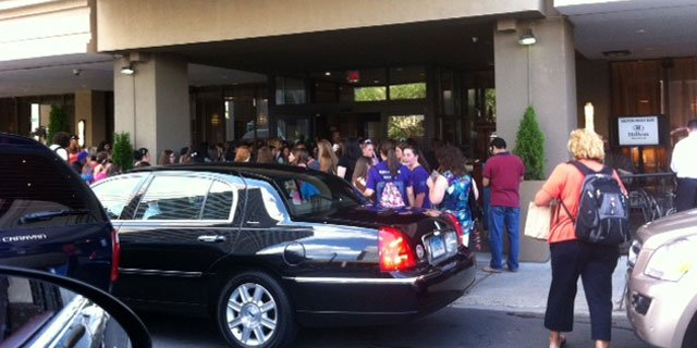 A big crowd gathered outside Hartford Hilton Wednesday afternoon where they believe Justin Bieber is awaiting his concert.