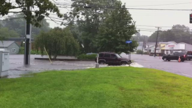 Drivers are being advised to avoid flooded roads in Eastern Connecticut and not to drive through them.