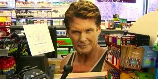 A sign  similar to this one of David Hasselhoff was what the suspects were attempting to steal from the Cumberland Farms in Shelton.