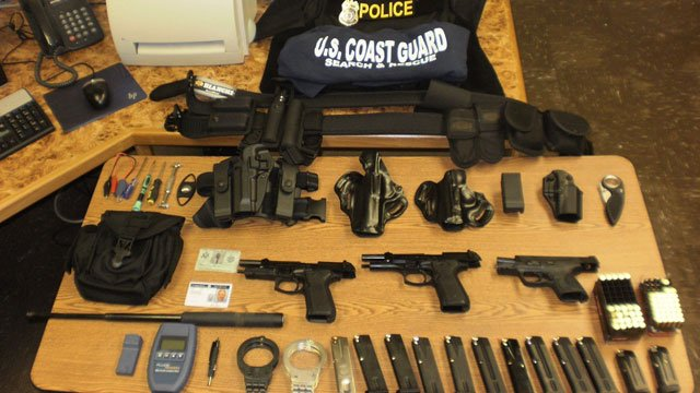 Items seized from Bruce Browne by police.