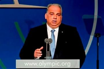 (AP Photo/Victor R. Caivano). Nenad Lalovic, head of the International Federation of Associated Wrestling Styles (FILA), speaks during the sports' presentation during the 125th IOC session in Buenos Aires, Argentina, Sunday, Sept. 8, 2013.