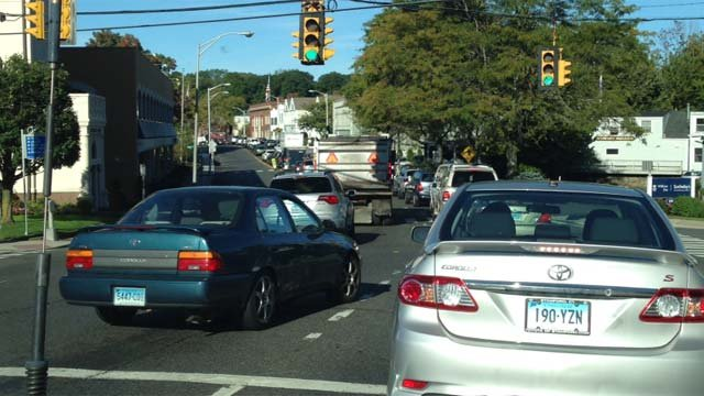 Traffic in Westport as a result of the Metro-North service disruptions.