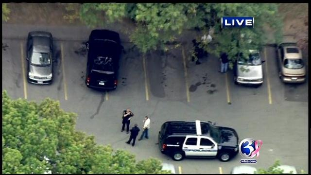 Aerial video from what is believed to be the suspect's home in Stamford.