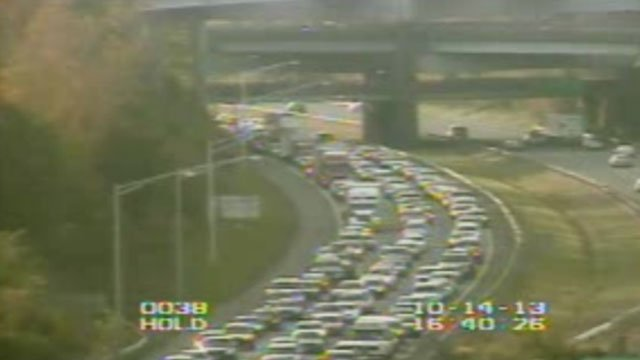 The following photo of the traffic backup from I-84 was provided by the State Department of Transportation.