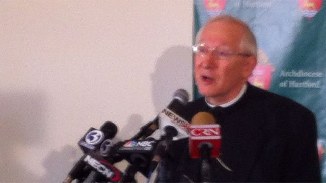 Leonard Paul Blair, who was named the new archbishop of the Archdiocese of Hartford, answers questions from media Tuesday.