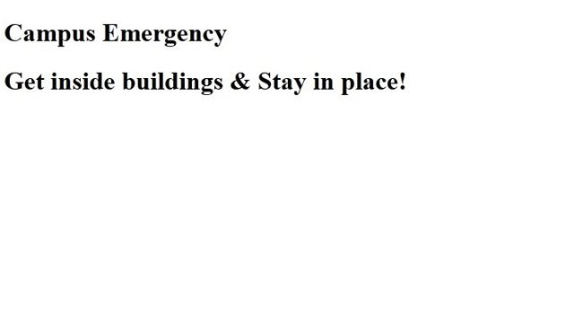The following photo is of the Central Connecticut State University website after the emergency was sent out.