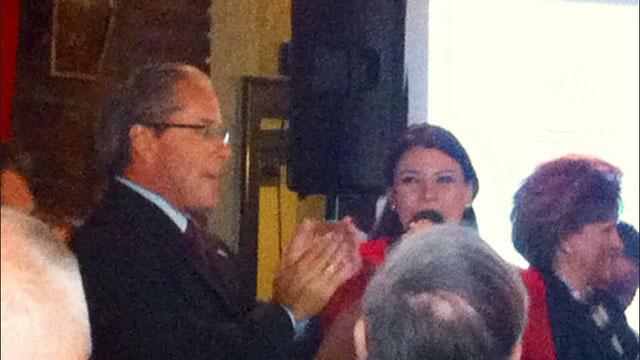 Erin Stewart celebrates her victory with her father, Tim Stewart.