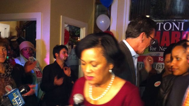 Toni Harp prepares to speak after winning the race for the New Haven mayor.