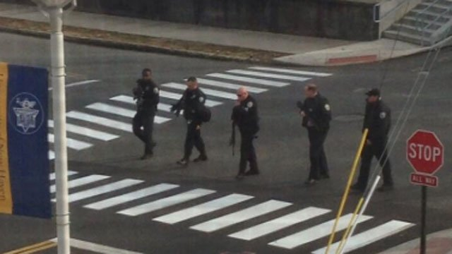 Officers searched the UNH campus after the report of a gunman near the university. Photo: Twitter