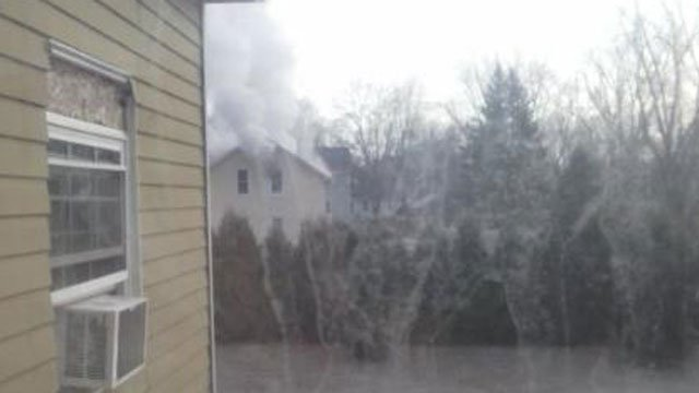 An iWitness sent this photo in from the fire in Somers