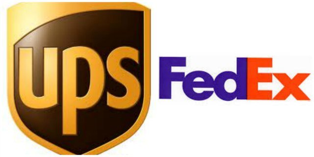 The following photo is of the logos of UPS and FEDEX.