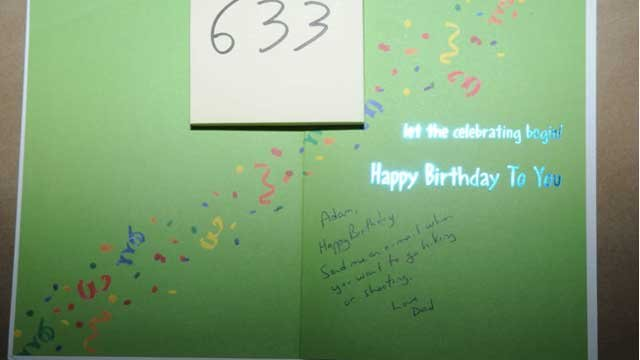 The following photo is of a birthday card sent to Adam Lanza from his father.