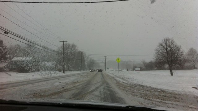 The roads in Newington near the high school were plowed.