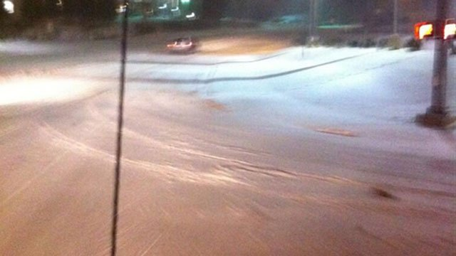 Side roads in Bristol were covered in snow Thursday night.