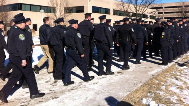 Police show up to New Britain Superior Court in support of Officer Morgan.