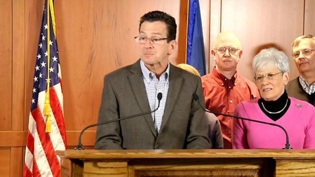 Gov. Dannel P. Malloy updates the public on Winter Storm Easton during a press conference Thursday morning.