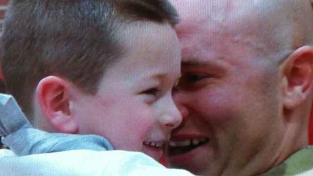 Sgt. TJ Musshorn was reunited with his son Wednesday. (WFSB Photo)