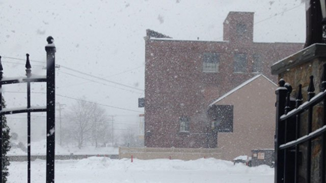 Snow continues to fall in Torrington.