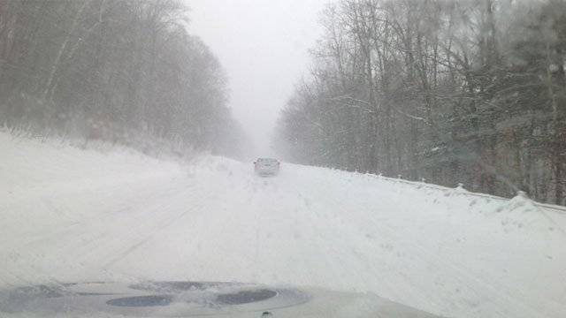 Eyewitness News experienced low visibility on Route 4 in Farmington.