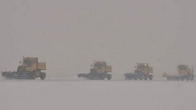 Snow removal crews were working to keep the runways and taxiways safe for aircraft flights to operate. (Photo courtesy Bradley International Airport  Twitter)