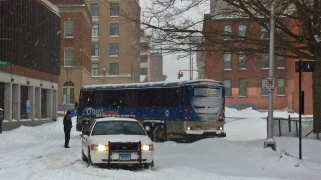 A CT Transit Bus was stuck on Ann Uccello Street in Hartford on Thursday.