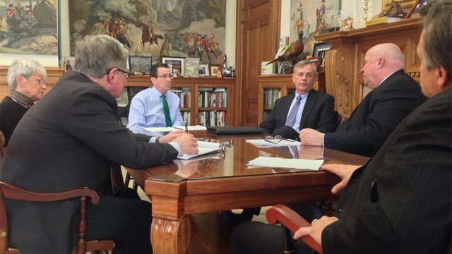 Gov. Dannel Malloy meets with the new president of Metro-North Railroad. (Photo Courtesy: Andrew Doba's Twitter page)