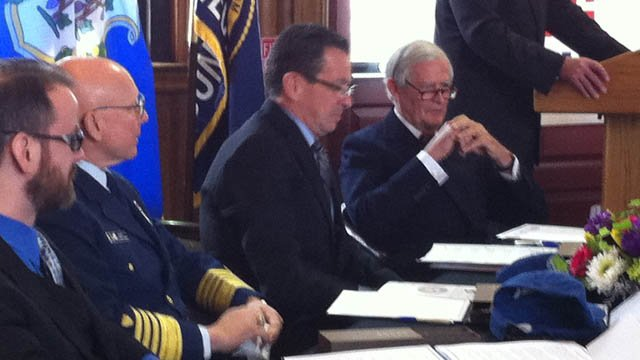Gov. Malloy was present for the Coast Guard museum agreement Wednesday morning.