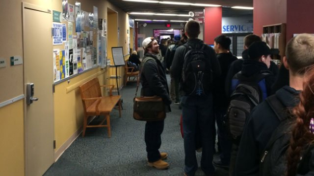 CCSU students lined up for tickets to see the president