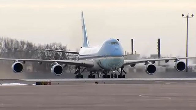 Air Force One arrives in CT