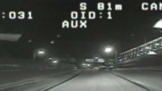 Sgt. Eric Smith was pursued down I-91 before he crashed, according to a report. (Hartford police footage)