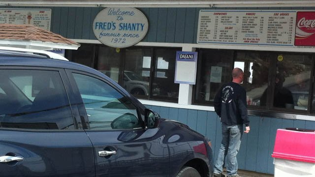 Fred's Shanty was open for business in New London Thursday. (WFSB photo).