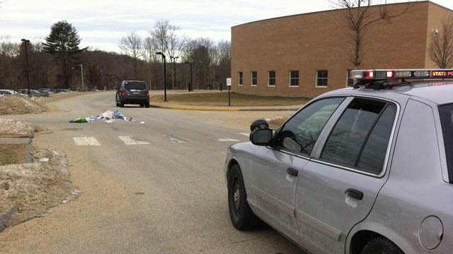 Emergency materials left at the scene where a teacher was struck by a vehicle in Hebron. (WFSB photo)