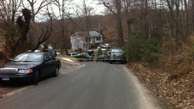 Shelton police returned to the scene of the crime Monday. (WFSB photo).