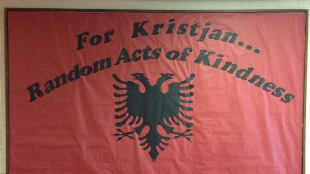 Shelton High School set up a random acts of kindness board in memory of Kristjan Ndoj. (Headmaster Beth Smith photo)