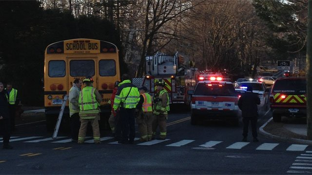 A collision involving a school bus closed Boulevard and Mountain Road Tuesday. (iWitness photo)