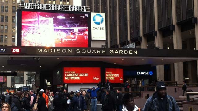 UConn's game at Madison Square Garden was slated for 7:27 p.m. (WFSB photo)