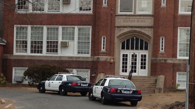 The Woodland School in East Hartford was briefly locked down Friday. (WFSB photo)