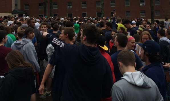 UConn students gather on Storrs campus after the Huskies win over MSU.