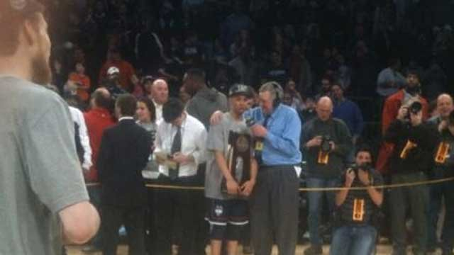 Point guard Shabazz Napier being interviewed after UConn defeats MSU. (Photo Courtesy: John Holt)