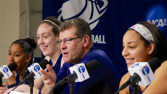 Connecticut coach Geno Auriemma and players Kaleena Mosqueda-Lewis, left, Breanna Stewart, second left, and Bria Hartley, right, participate Sunday, March 30, 2014, in a news conference ahead of a regional finals game (AP Photo)