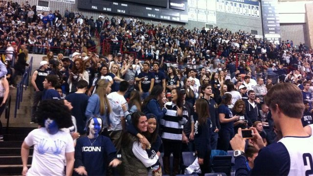 Gampel Pavilion filled was to capacity of roughly 10,100by 8:15 p.m., UConn officials said.