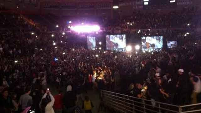 A championship viewing party was held at Gampel Pavilion. The arena was filled to capacity, roughly 10,100 people.