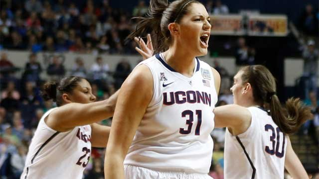 Connecticut center Stefanie Dolson (31) celebrates a basket against Notre Dame during the first half of the championship game (AP photo)