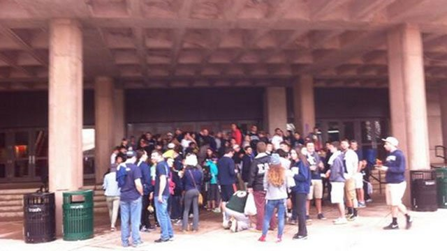UConn fans lined up outside Gampel Pavilion as early as 2 p.m. for the championship rally.