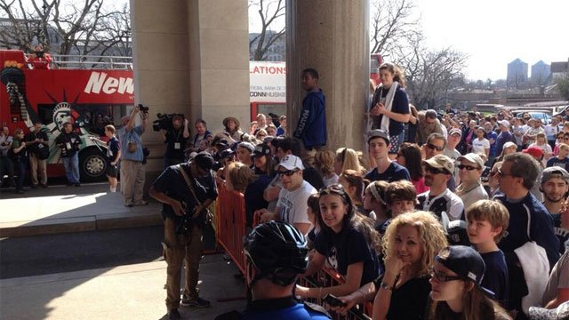 People waiting at entrance of State Capital for the UConn championship parade to start. (Photo Courtesy Hartford Deputy Chief Brian J. Foley)