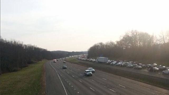 Traffic was backed up for miles after the crash on I-84 in Vernon between exits 65 and 66.