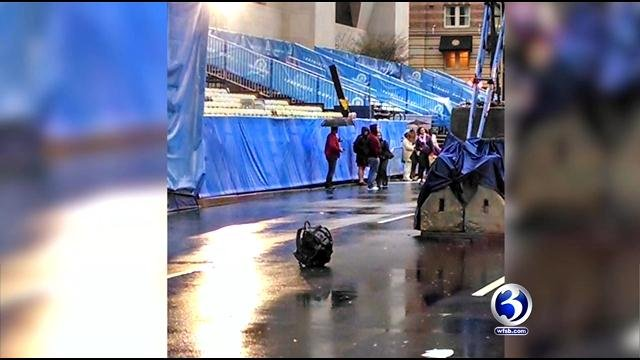 Police destroyed a suspicious backpack left at the finish line of the Boston Marathon on Tuesday.