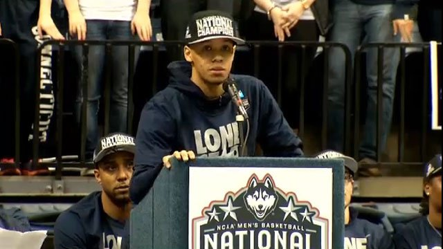 Shabazz Napier speaks during the championship rally for the Huskies. (File Photo)