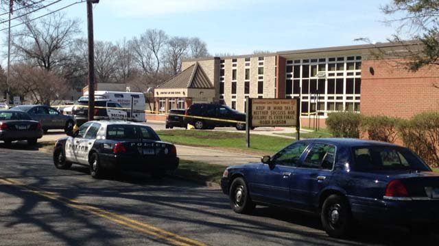 A stabbing involving students was investigated at Jonathan Law High School in Milford, police said. (WFSB photo)